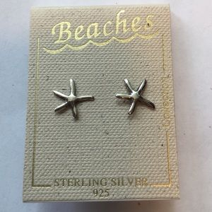 Beaches Sterling Silver Starfish Post Earrings